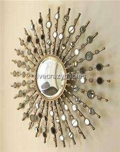 Large Modern Silver Sunburst Starburst Wall Mirror XL Designer Horchow