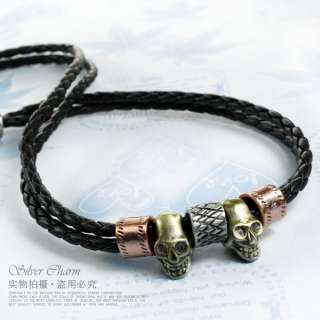 New Men Skull Braided Twist Rop Black leather necklace