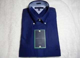 NEW $65 TOMMY HILFIGER OXFORD DRESS/CASUAL SHIRT RETRO LOGO BLUE COLOR