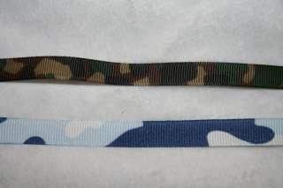 yds Green Blue ARMY Camo Print GROSGRAIN ribbon 3/8