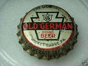 OLD GERMAN BEER BOTTLE CAP CROWN WILKES BARRE, PA