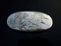 ENGRAVED ANTIQUE JAPANESE STERLING SILVER MINIATURE BOX JAPAN