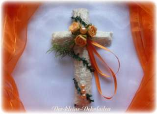 Tischdeko orange Kommunion Konfirmation Kreuz