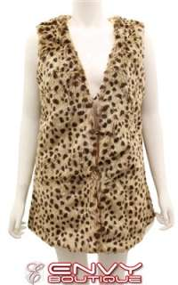 NEW WOMENS LADIES LEOPARD PRINT FAUX FUR GILET WAISTCOAT JACKET CROP