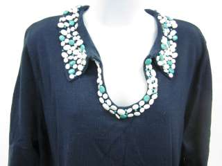 costa blue bead trim long sleeve sweater size 1x this blue v neck long