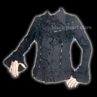 Rüschen BLUSE Hemd Visual Kei mit Spitze JAPAN Gothic M