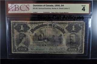 1900 Canada $4.00 Four Dollar Bill DC 16 Good 4 BCS  