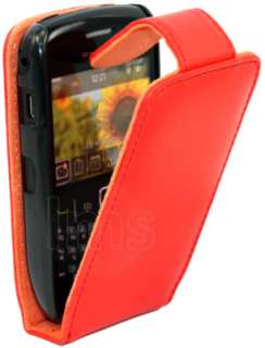 RED FLIP LEATHER CASE FOR BLACKBERRY CURVE 8520