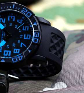 INFANTRY INFILTRATOR MILITARY ROTATABLE BLACK RUBBER MENS WRIST WATCH