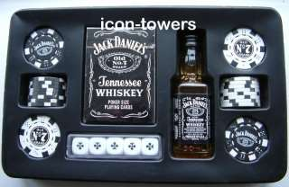 Jack Daniels Poker Box Set Cards Chips Dice 5cl Whiskey