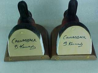 Ducks Unlimited CANVASBACK DUCK DECOY Bookends w Bronze Medallions B