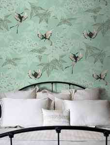 OSBORNE & LITTLE GROVE GARDEN WALLPAPER W5603/03 DUCK EGG BLUE