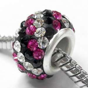 Classic Clear Crystal Deep Pink Beads Fits Pandora Charm