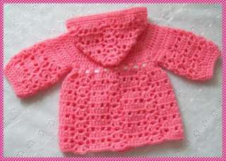 PATTERN TO CROCHET HOODED COAT & PANTS FOR NEWBORN BABY/REBORN DOLL