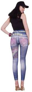 Womens M L (8 12) Graphic Hip Hop Jean Leggings   Hip H