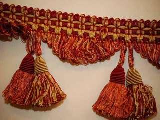 Decorative Tassel Fringe Trim Red Orange Cream 3.5 W