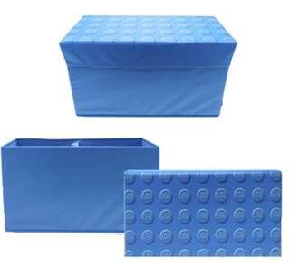 LEGO STORAGE BENCH BOX RED BLUE KIDS CHILDRENS LARGE TOY CHEST BOX