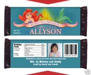 LITTLE MERMAID PRINCESS Birthday Party CANDY WRAPPERS
