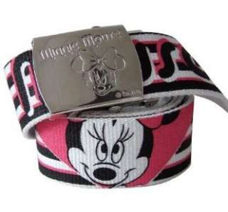 MINNIE MOUSE DISNEY RETRO CANVAS BELT WITH METAL EMBOSSED BUCKLE NEW