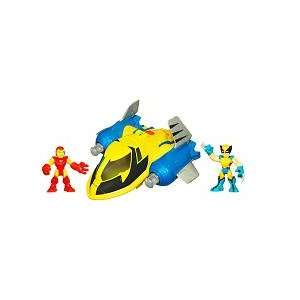 Playskool Super Hero Squad Deluxe Vehicle   Rescue Jet with Wolverine