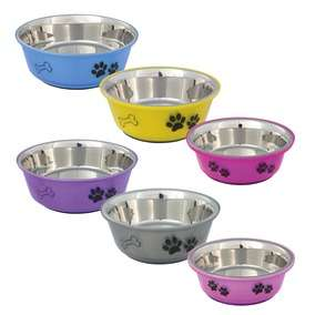 Trixie Stainless Steel non Slip Dog Bowl Plastic outer with paw print