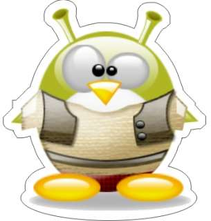 Tux   Linux Penguin Shrek Sticker   3.75 x 3.5