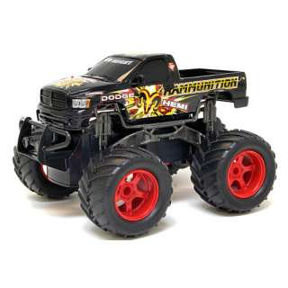 New Bright 124 Scale Radio Control Dodge Ram Monster   Black 27 MHz