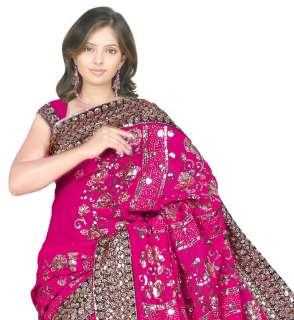Rose Indien Sari Saree Ventre Danse ROBE Stoff TAKCHITA