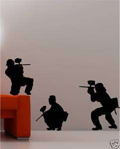 3X PAINTBALL ARMY wall art stickers KIDS bedroom decal