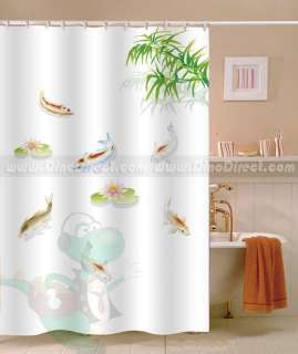 Kids Bathroom Accessories: Kids Fish Pattern Shower Curtain in