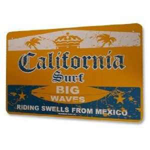 California Surf Big Waves Riding Swells From Mexico Street Sign