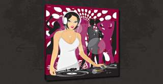 DISCO DJ GIRL MUSIC CONTEMPORARY CANVAS PRINT ART MANY SIZES TO CHOOSE