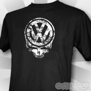 VW Skull Mens Black T Shirt Beetle Camper Volkswagon