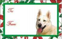 12 White German Shepherd Dog Christmas Gift Tags
