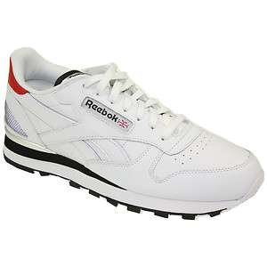 REEBOK MENS CLASSIC LEATHER CLIP TRAINERS SHOES WHITE/BLACK/RED