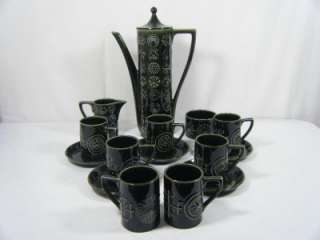 Portmeirion Totem Green 15 pcs Coffee Set Susan Williams Ellis 60s