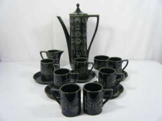Portmeirion Totem Green 15 pcs Coffee Set Susan Williams Ellis 60s