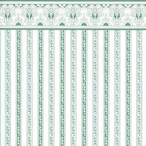 Doll House Miniature Wallpaper Regency Green Stripe h3