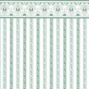 Doll House Miniature Wallpaper Regency Green Stripe h3