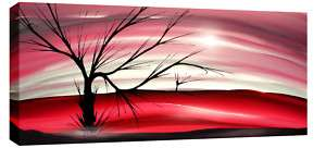 LARGE MODERN LANDSCAPE PAINTING CANVAS RED PINK 44x20