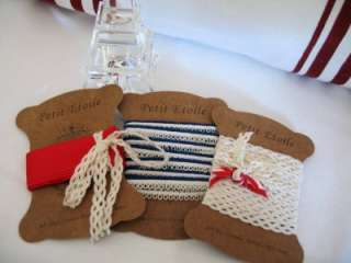 50 METERS Vintage French Lace & Ribbon Trim on card spools
