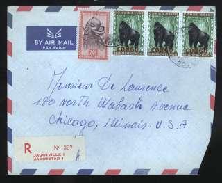Belgium Belgian Congo Rare Jabotville REGISTERED Cover