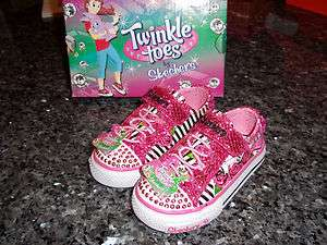 Girls Skechers Twinkle Toes Shuffles Startastic Pink Sparkle Shoes,6,7