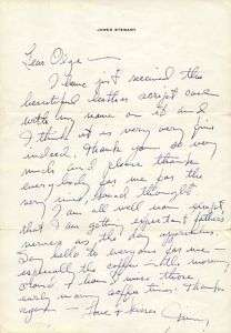 JAMES JIMMY STEWART   AUTOGRAPH LETTER SIGNED