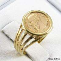 MEXICAN COIN RING   Solid 14k Yellow Gold Maximiliano Emperador Copy