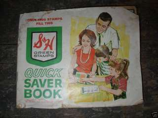 VINTAGE S&H GREEN STAMP BOOK FILLED W/ STAMPS LOOK