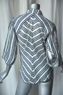 ZAC POSEN Stripe SILK Cowl Blouse Drape Top Shirt 4 NEW