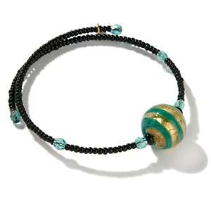 by Manuela Green and Gold Colored Glass Bead Coil Bracelet