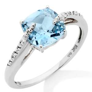 10K White Gold 1.62ct Blue Topaz and Diamond Accented Ring