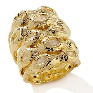 Justine Simmons Jewelry 3.50ct CZ Brushed Goldtone Ring